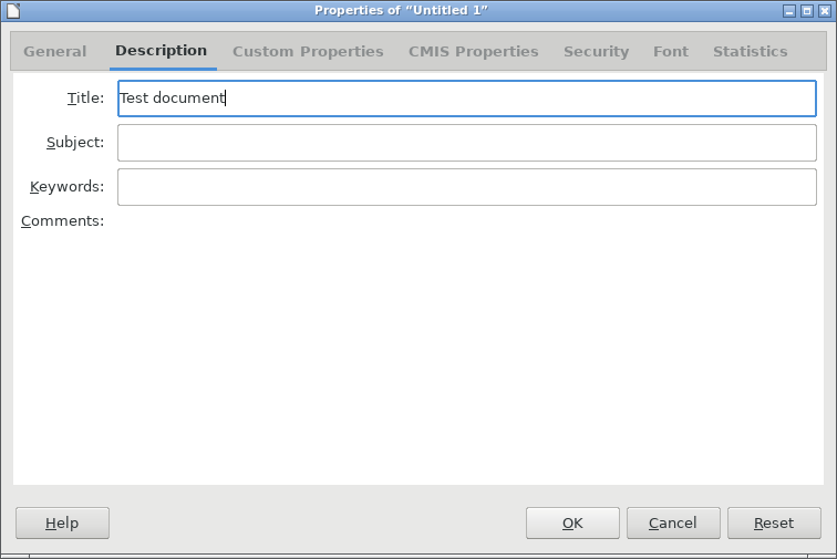 Libre Office Writer file properties dialog
